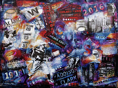 Wrigley Field Painting - Chicago Cubs - World Series Champions 2016 -  by Kathleen Patrick