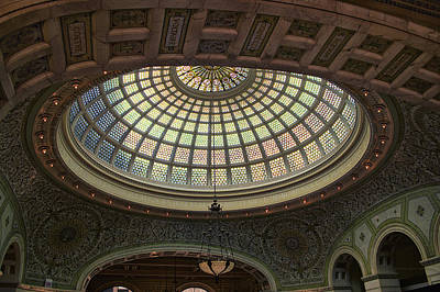 Stainglass Photograph - Chicago Cultural Center Tiffany Dome 01 by Thomas Woolworth