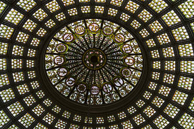 Stainglass Photograph - Chicago Cultural Center Tiffany Dome 03 by Thomas Woolworth