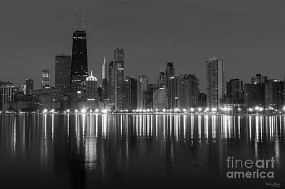 Photograph - Chicago Dawn Cityscape Grayscale by Jennifer White