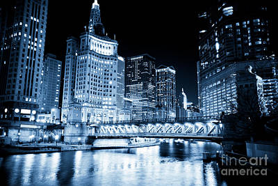 Blue Buildings Photograph - Chicago Downtown Loop At Night by Paul Velgos