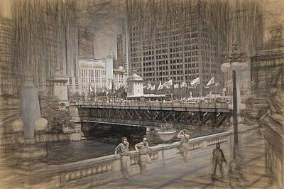 Photograph - Chicago Dusable Bridge Street Scene by Ginger Wakem