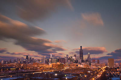 City Sunset Photograph - Chicago Dusk by Steve Gadomski
