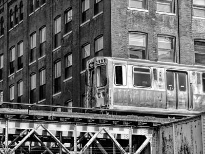 Photograph - Chicago El And Warehouse Black And White by Christopher Arndt