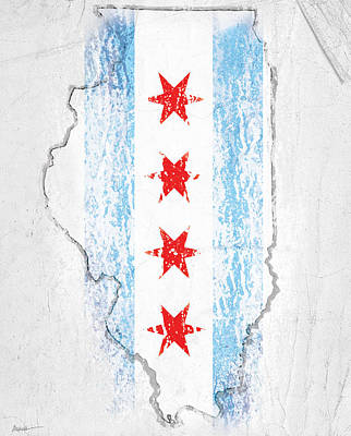 Chicago Flag Art Print by Roly Orihuela
