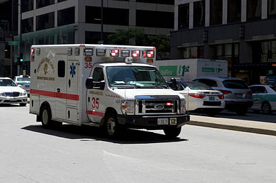 Soldier Field Mixed Media - Chicago Fire Department Ems Ambulance 35 by Thomas Woolworth