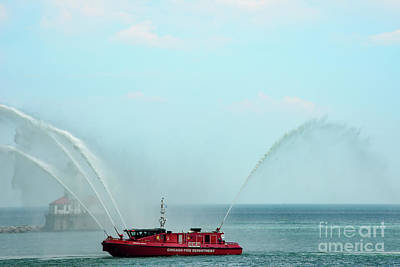 Photograph - Chicago Fire Department Fireboat by David Levin