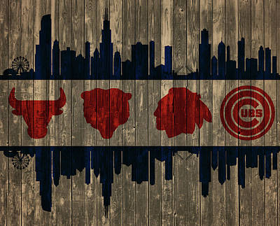 Chicago Skyline Mixed Media - Chicago Flag Barn Door by Dan Sproul