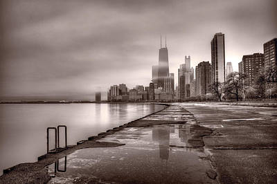 Reflections Photograph - Chicago Foggy Lakefront Bw by Steve Gadomski