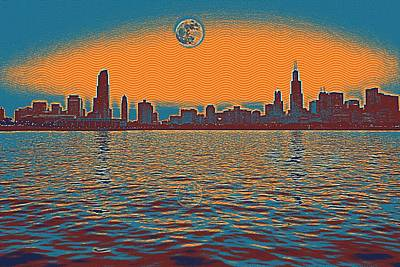 Architecture Painting - Chicago Full Moon 2 by Celestial Images
