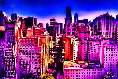 Chicago Glowing Art Print by Kathy Tarochione