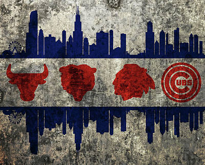 Chicago Skyline Mixed Media - Chicago Grunge Flag by Dan Sproul