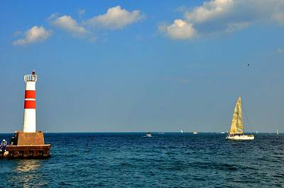 Photograph - Chicago Harbor Entrance And Sailboat by Andrew Dinh