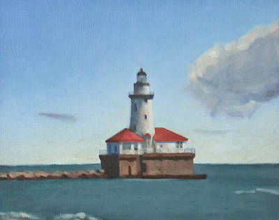 Painting - Chicago Harbor Light by Charles Pompilius