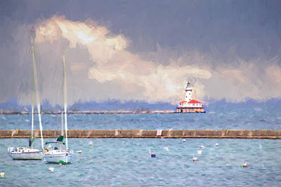 Photograph - Chicago Harbor Light Clouds by Alice Gipson