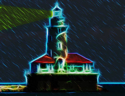 Lake Michigan Digital Art - Chicago Harbor Lighthouse by Chris Flees