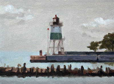 Painting - Chicago Harbor Southeast Guidewall Light by Charles Pompilius