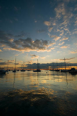 Sailboat Photograph - Chicago Harbor Sunrise by Steve Gadomski