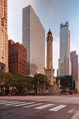 Chicago Skyline Photograph - Chicago Historic Water Tower On Michigan Avenue - Chicago Illinois by Silvio Ligutti