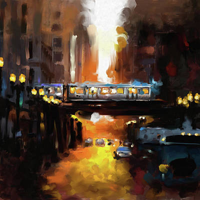 Chicago Oil Painting - Chicago II 474 1 by Mawra Tahreem