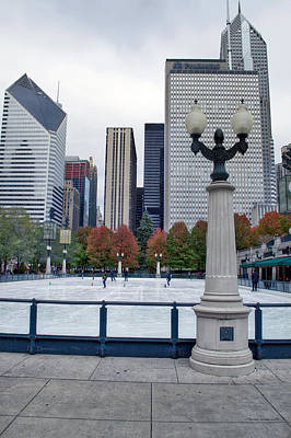 Chicago Ice Skating In November Vertical Art Print by Thomas Woolworth