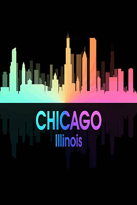 Digital Art - Chicago Il 5 Vertical by Angelina Vick
