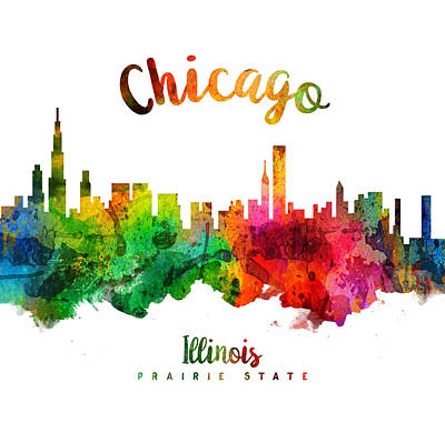 Chicago Skyline Painting - Chicago Illinois 24 by Aged Pixel