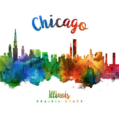 Chicago Skyline Painting - Chicago Illinois 25 by Aged Pixel