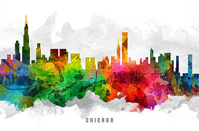 Chicago Skyline Painting - Chicago Illinois Cityscape 12 by Aged Pixel