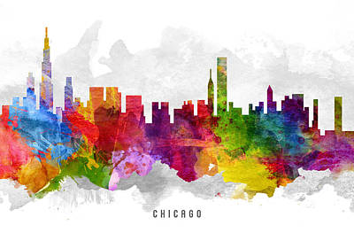 Chicago Skyline Painting - Chicago Illinois Cityscape 13 by Aged Pixel