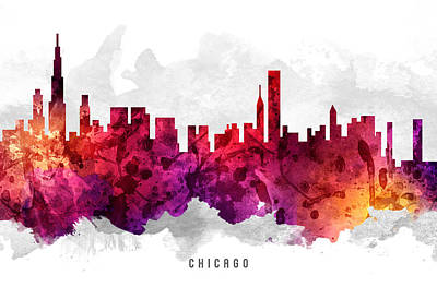 Chicago Skyline Painting - Chicago Illinois Cityscape 14 by Aged Pixel