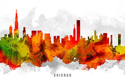 Chicago Skyline Painting - Chicago Illinois Cityscape 15 by Aged Pixel