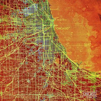Rhythm And Blues Digital Art - Chicago Illinois Colorful Old Map, Year 1947 by Pablo Franchi