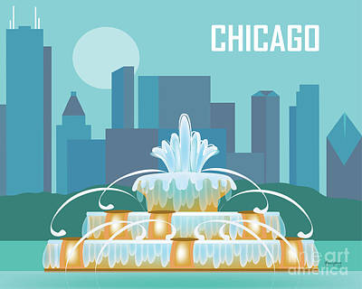 Windy Digital Art - Chicago Illinois Horizontal Skyline - Buckingham Fountain by Karen Young