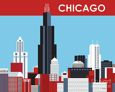 Professional Baseball Teams Digital Art - Chicago Illinois Horizontal Skyline by Karen Young