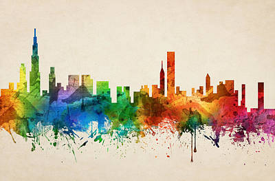 Chicago Skyline Painting - Chicago Illinois Skyline 05 by Aged Pixel