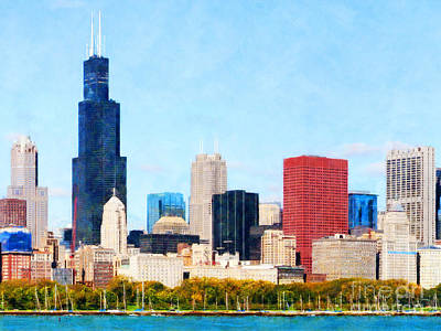 Photograph - Chicago Illinois Skyline Painterly Triptych Plate One Of Three 20180516 by Wingsdomain Art and Photography