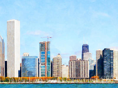 Photograph - Chicago Illinois Skyline Painterly Triptych Plate Three Of Three 20180516 by Wingsdomain Art and Photography