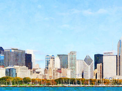 Photograph - Chicago Illinois Skyline Painterly Triptych Plate Two Of Three 20180516 by Wingsdomain Art and Photography