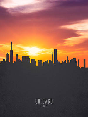 Chicago Skyline Painting - Chicago Illinois Sunset Skyline 01 by Aged Pixel
