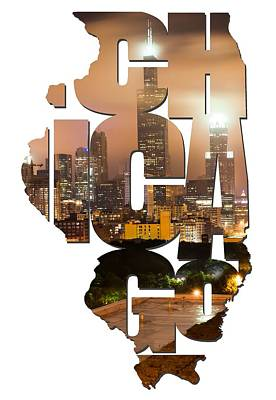 Photograph - Chicago Illinois Typography - Chicago Skyline From The Rooftop by Gregory Ballos