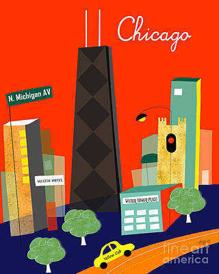 Baby Digital Art - Chicago Illinois Vertical Skyline - Michigan Ave. by Karen Young