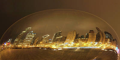 Photograph - Chicago In A Bubble Flattened by Michael Bessler