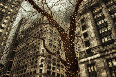 Chicago In November Holiday Lights Pa Art Print by Thomas Woolworth