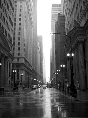 Photograph - Chicago In The Rain 2 B-w by Anita Burgermeister