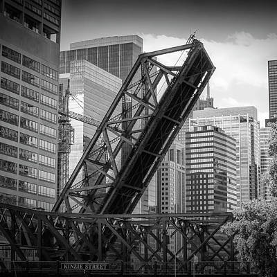 Railroad Bridge Photograph - Chicago Kinzie Street Railroad Bridge by Melanie Viola