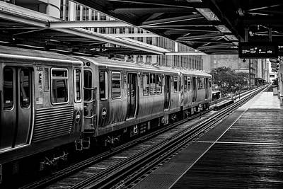 Photograph - Chicago L At A Stop In Black And White by Anthony Doudt