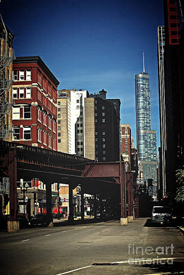 Frank J Casella Royalty-Free and Rights-Managed Images - Chicago L Between the Walls by Frank J Casella
