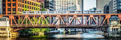 2012 Photograph - Chicago Lake Street Bridge L Train Panorama by Paul Velgos