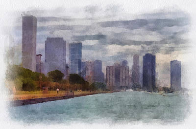 Lake Michigan Mixed Media - Chicago Lakefront Pa 01 by Thomas Woolworth